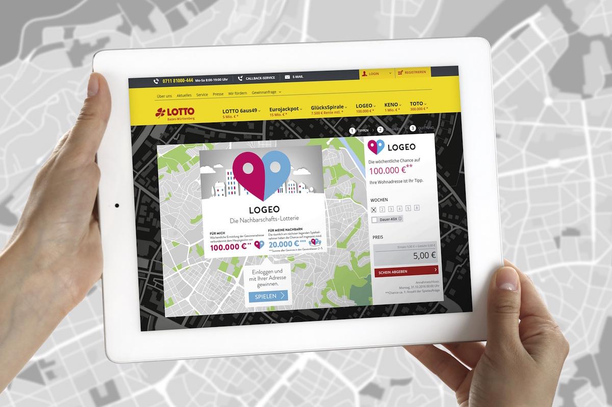 Tablet mit Logeo Lotto App
