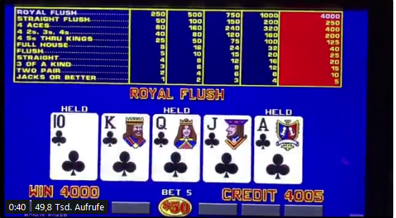 Video Poker Gewinn