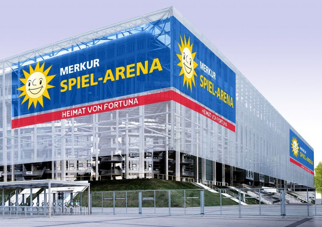 Merkur Logo am Düsseldorfer Stadion