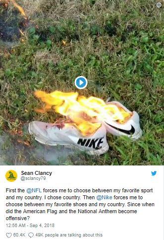 Tweet: Brennende Nike-Schuhe