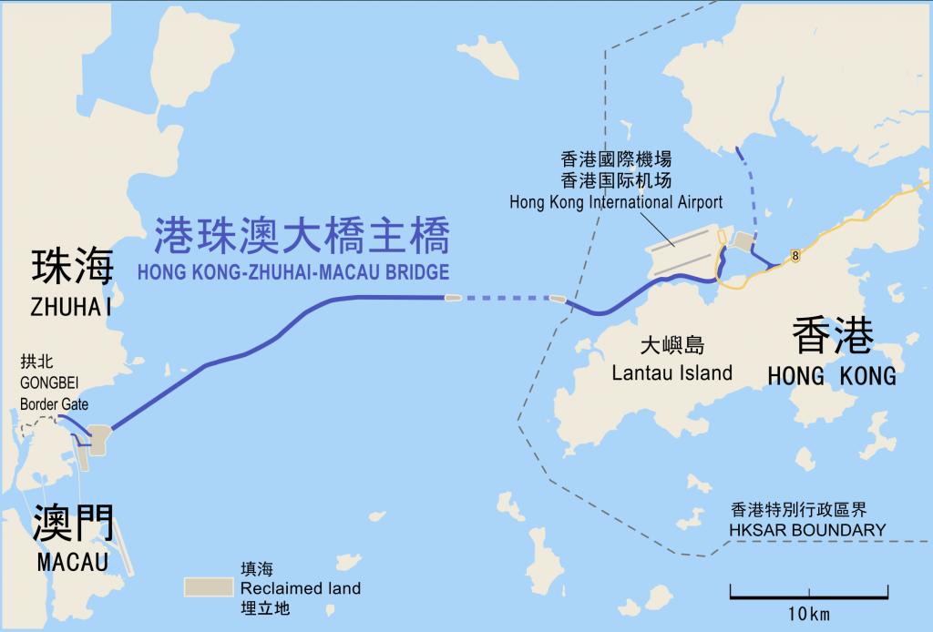 Karte Macau Hong Kong