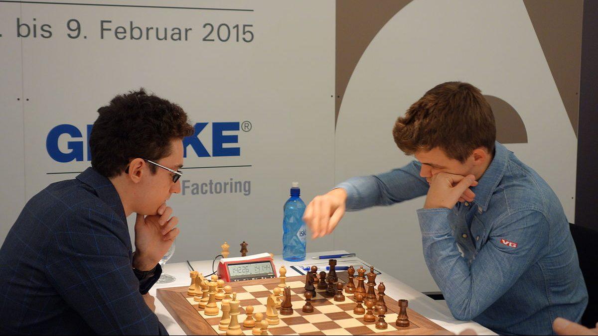 Magnus Carlsen und Fabiano Caruana