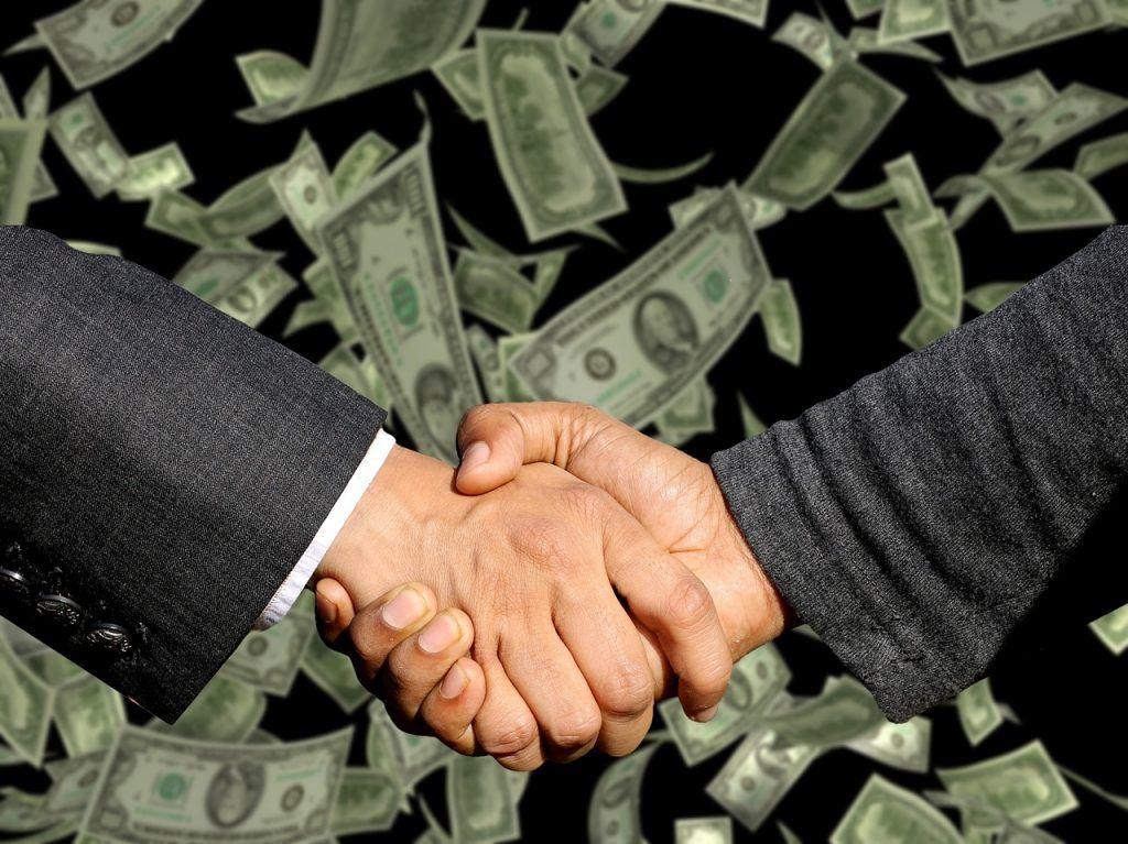 Hände schütteln, Geld