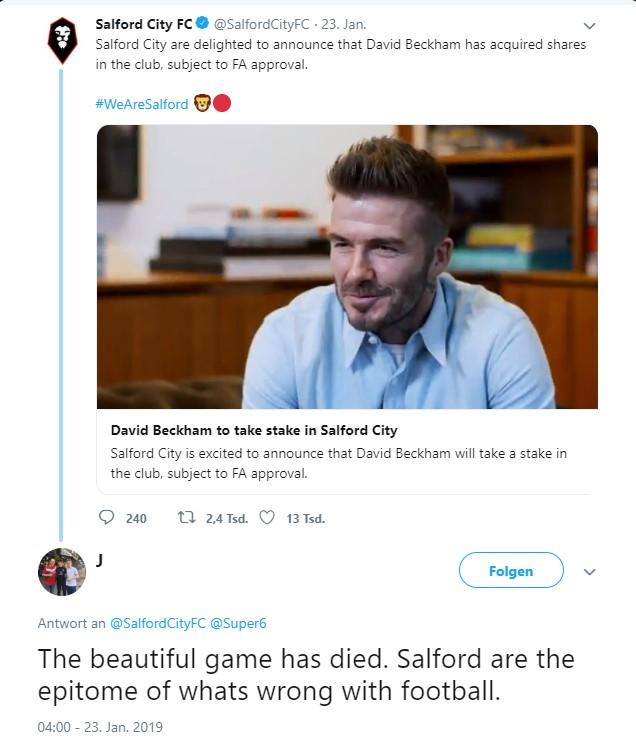 Salford City Beckham Reaktion