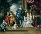 King George III und seine Frau Königin Charlotte mit Kindern