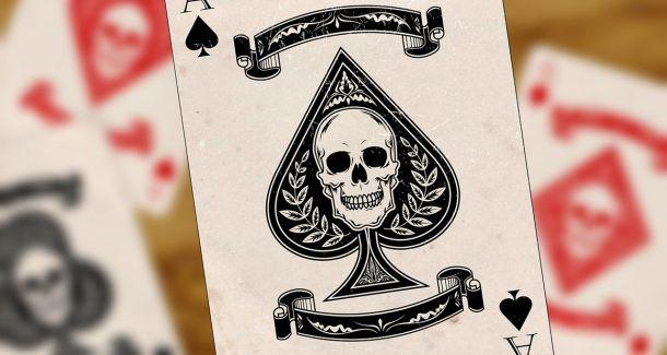 Spielkarte As Totenkopf