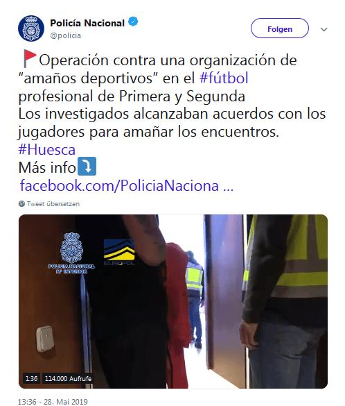 Spanische Polizei postet auf Twitter
