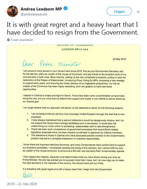 Leadsoms Brief an die Premierministerin auf Twitter