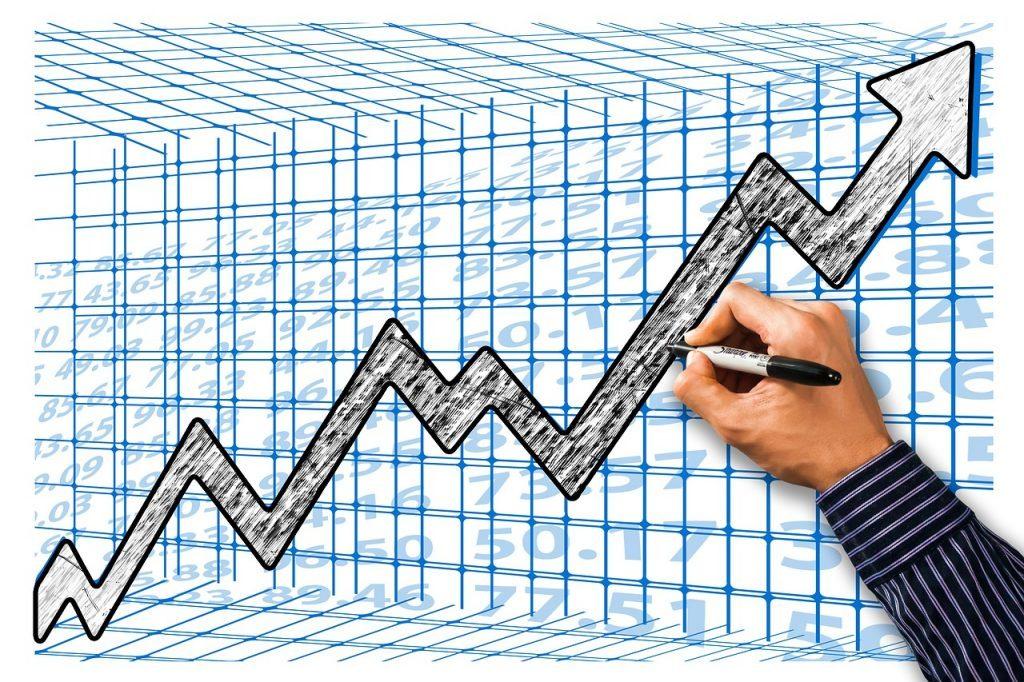 Hand, Stift, Börse, Kurve, Anstieg