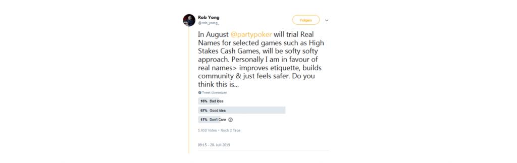 Twitter Umfrage von Rob Yong