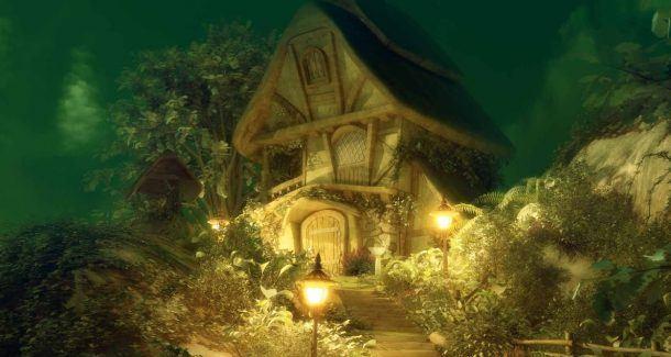 Haus, Bäume, Lampe
