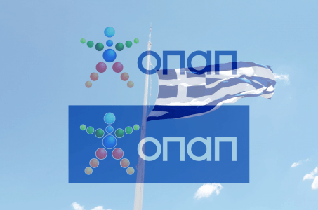 OPAP Logo, griechische Flagge