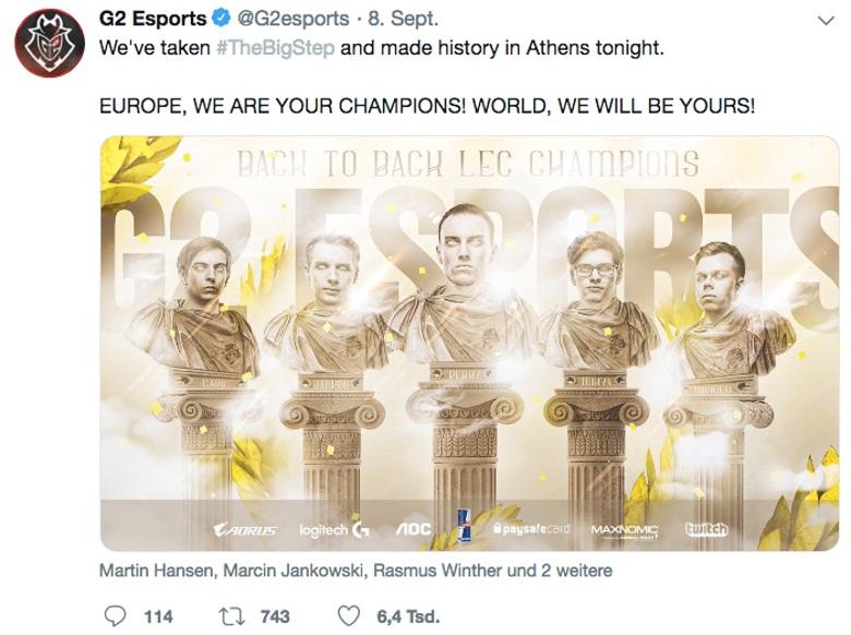 Tweet G2 Esports