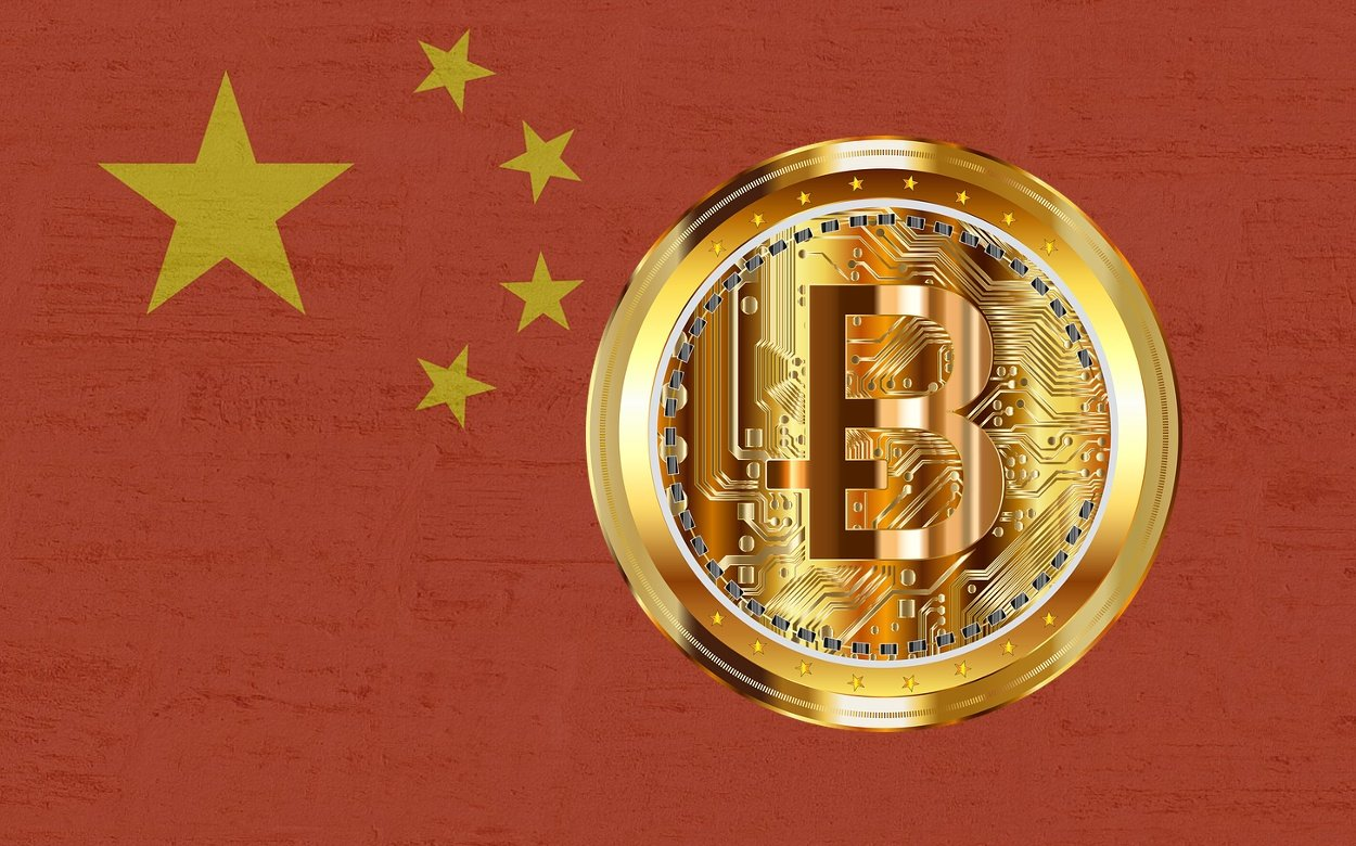 Fahne China Bitcoin