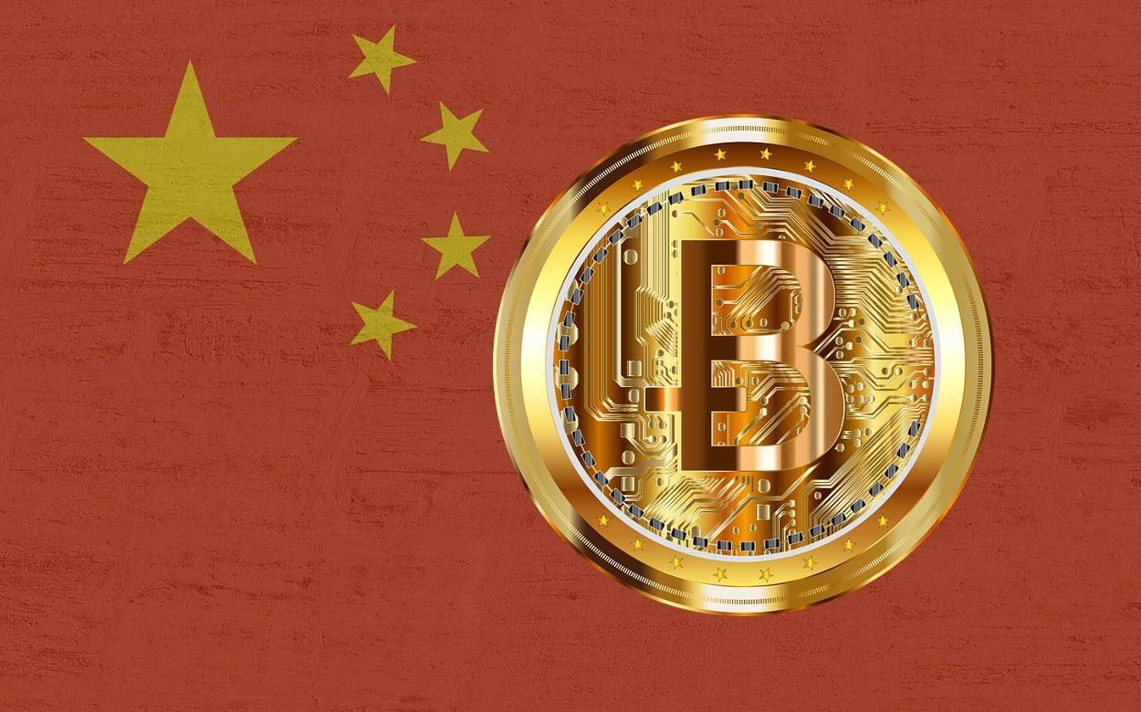 Fahne China Bitcoin