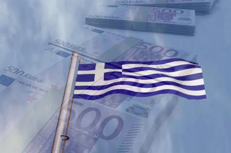 griechische Flagge, Geldscheine, Euro