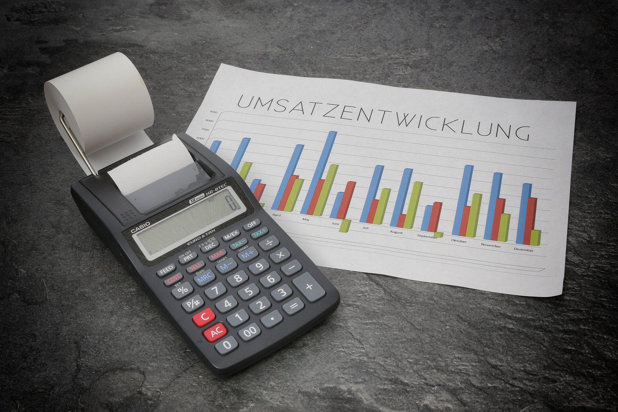 Taschenrechner, Tabelle, Umsatzzahlen, Umsatzentwicklung