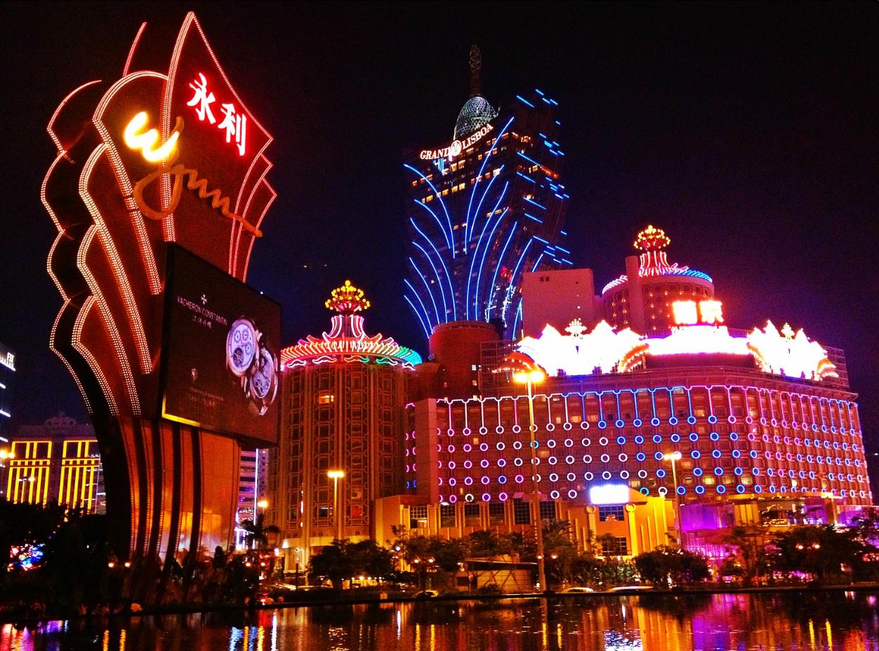 Casinos Macau bei Nacht, Lichter