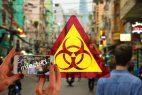 Warnschild, Smartphone, Menschen auf der Straße