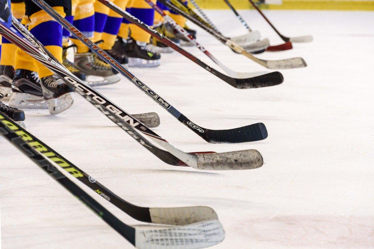 Aufgereihte Eishockeyschläger