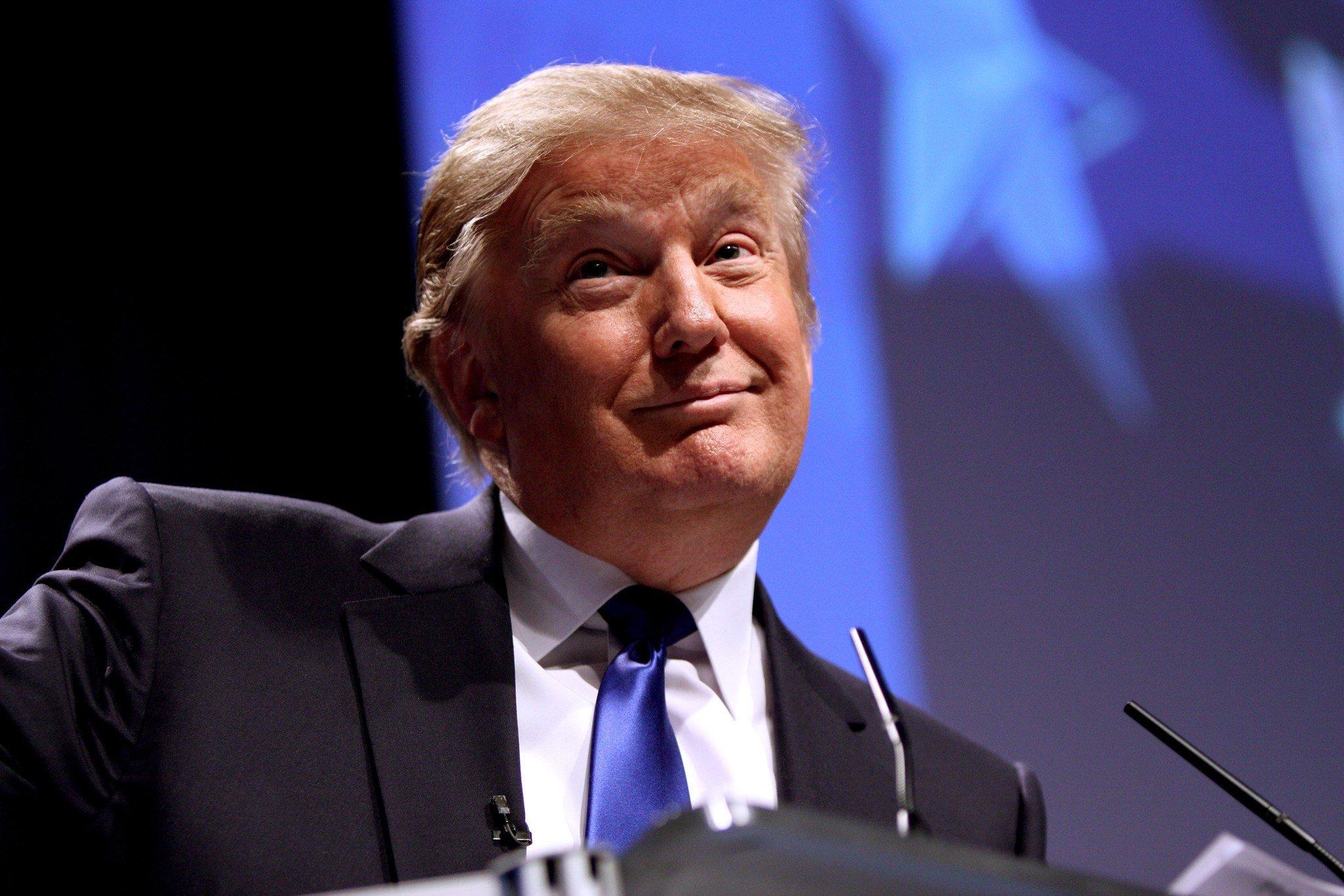 Donald Trump Porträt dümmliches Lächeln