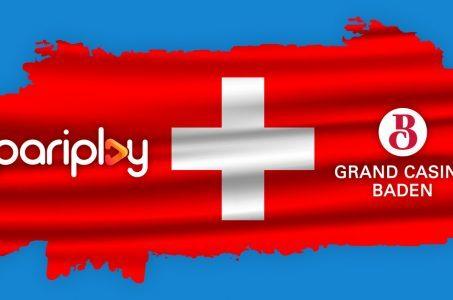 Schweizer Flagge, Pariplay Logo, Casino Baden Logo