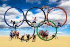 Olympische Ringe, Sportler, Wolken