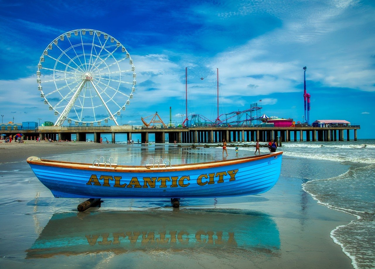 Boot, Riesenrad, Atlantik City, Meer