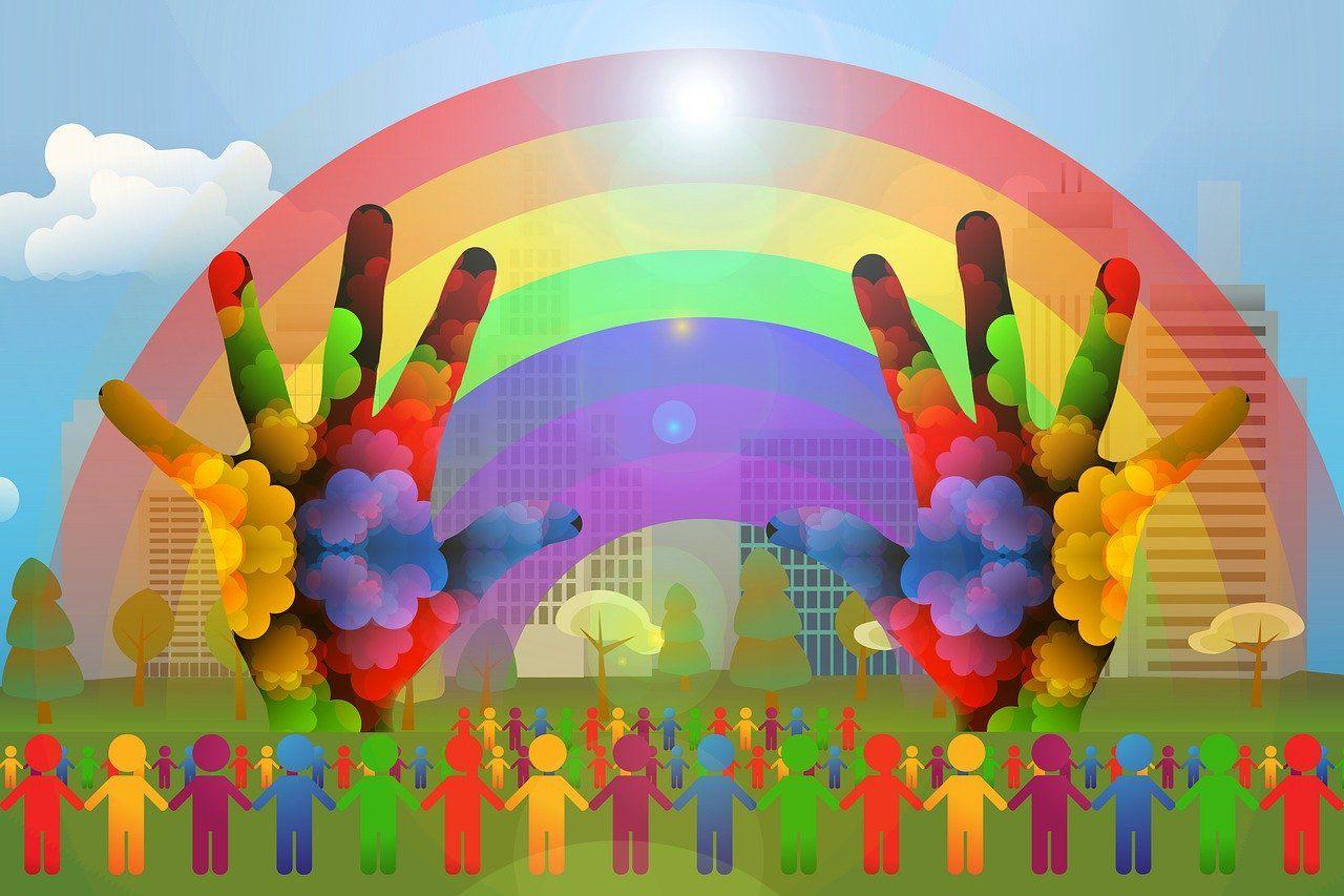 Regenbogen, bunt, Hände, Menschen, Silhouetten