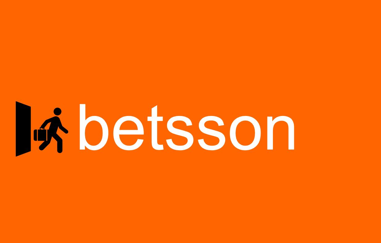 Betsson Logo, Mensch mit Koffer Silhouette