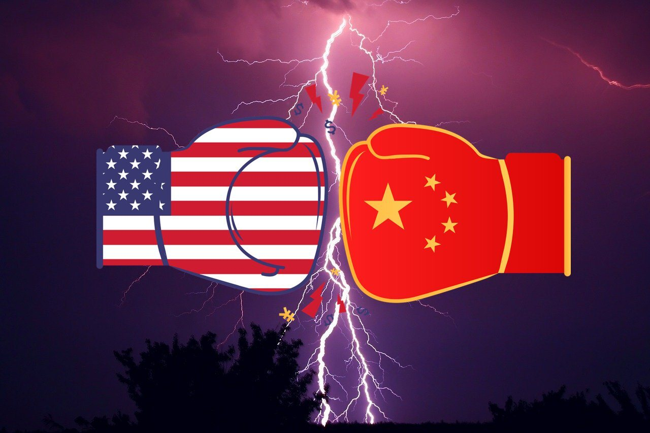 US-Flagge, China Flagge, Blitz, Boxhandschuhe