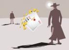 zwei Duellanten, Spielkarten, Münzen, Clip-Art