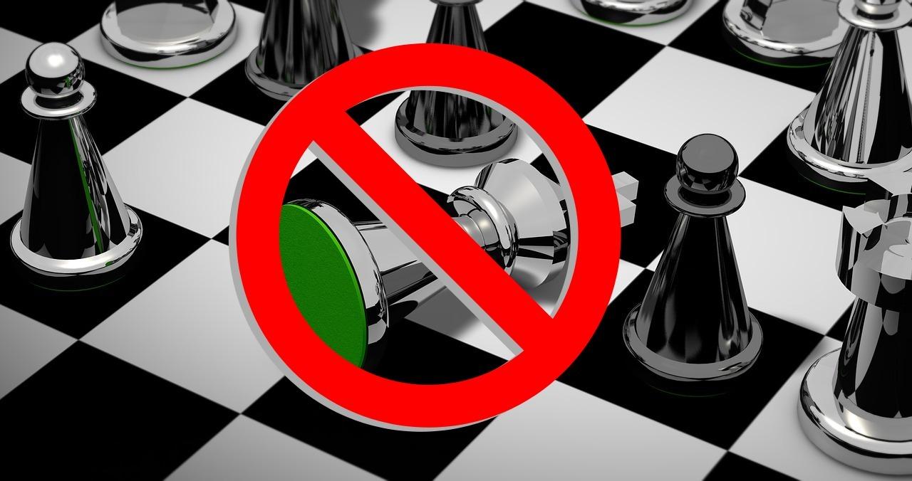 Schachbrett, Figuren, Verbotsschild