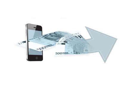 Smartphone, Geldscheine, Pfeil