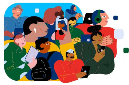 Menschen mit Mobilgeräten
