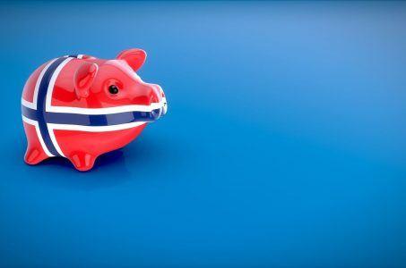 Sparschwein mit Norwegen-Flagge