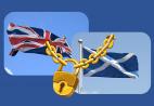 Flaggen England und Schottland, Schloss mit Kette