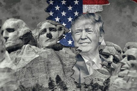 USA Flagge, Donald Trump, Mount Rushmore National Memoria
