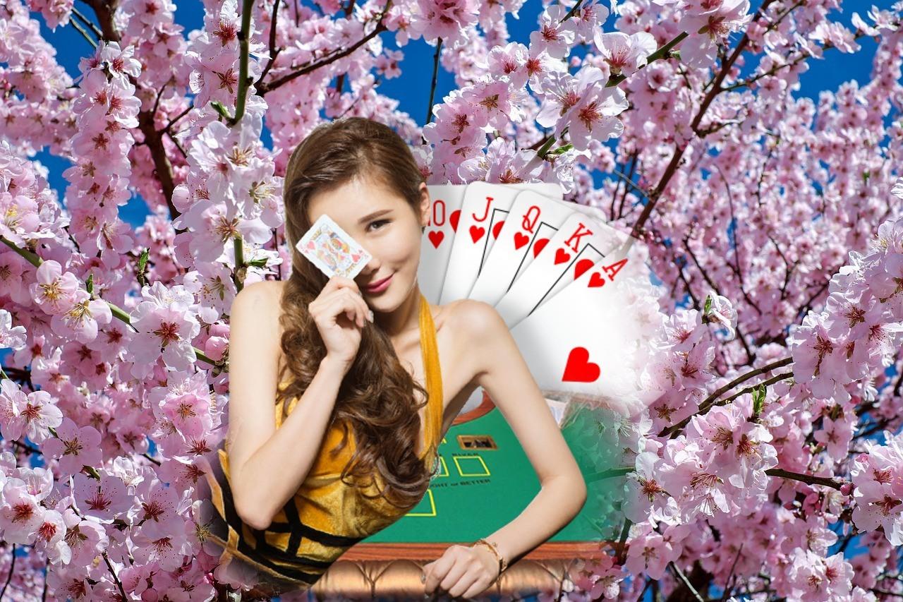 Kirschbaum, Blüten, Dealerin, Spieltisch, Karten
