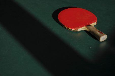 Tischtennisschlaeger auf Platte
