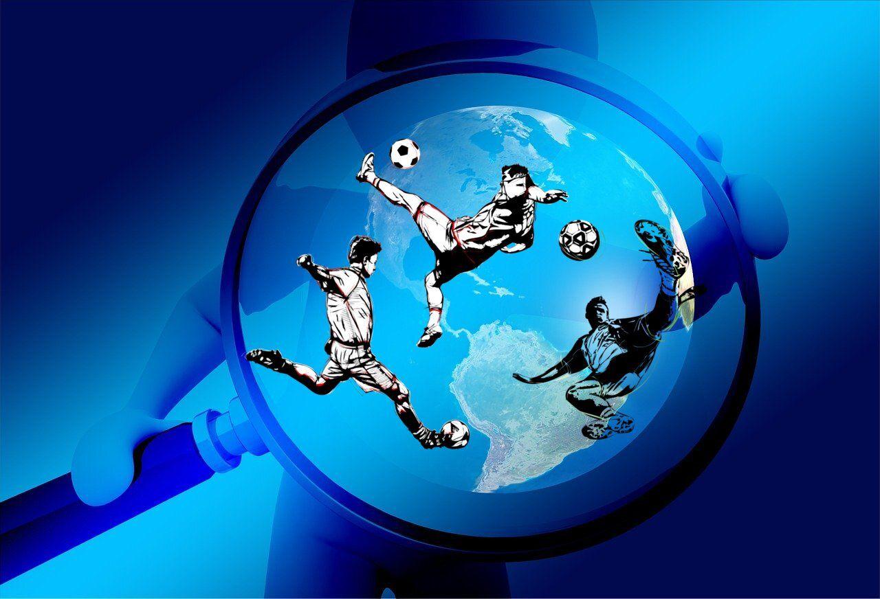Globus, Figur mit Lupe, Fußballspieler