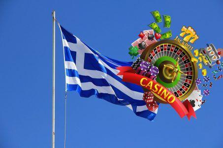 griechische Flagge, Casino, Roulette, Chips, Karten