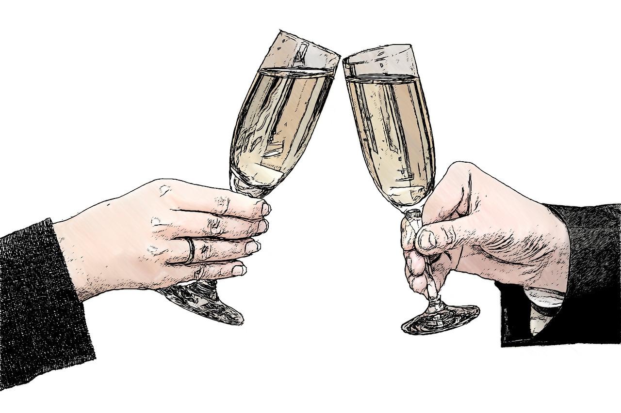 Zwei Gläser Sekt, Hände