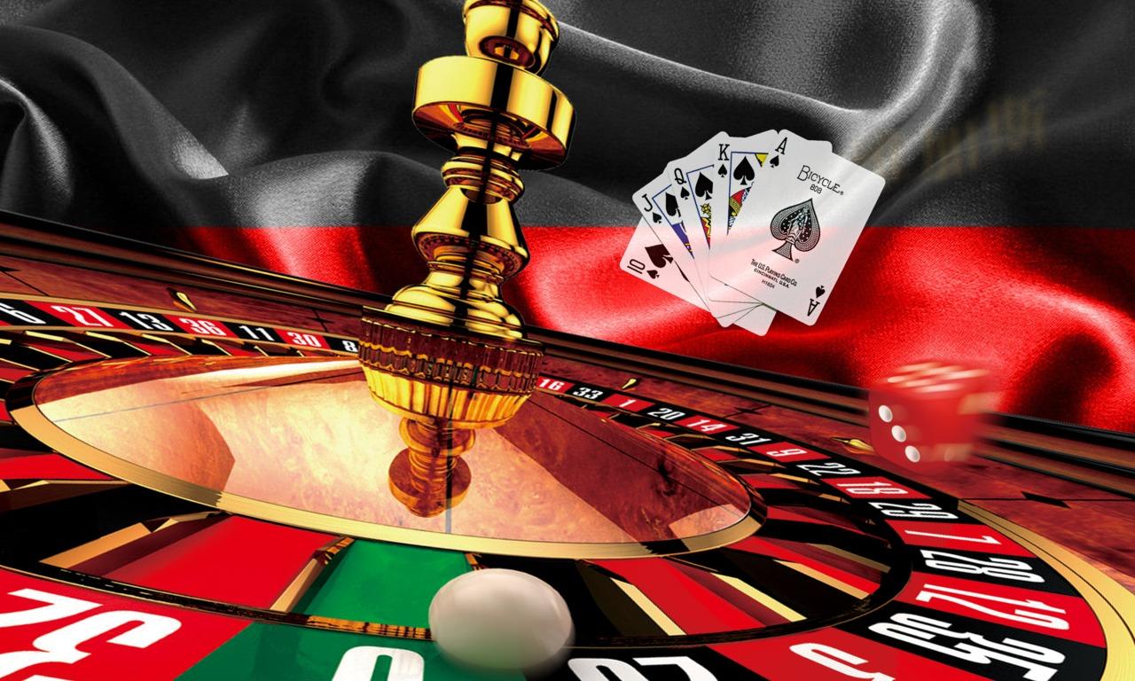 deutsche Flagge, Roulette-Rad, Spielkarten