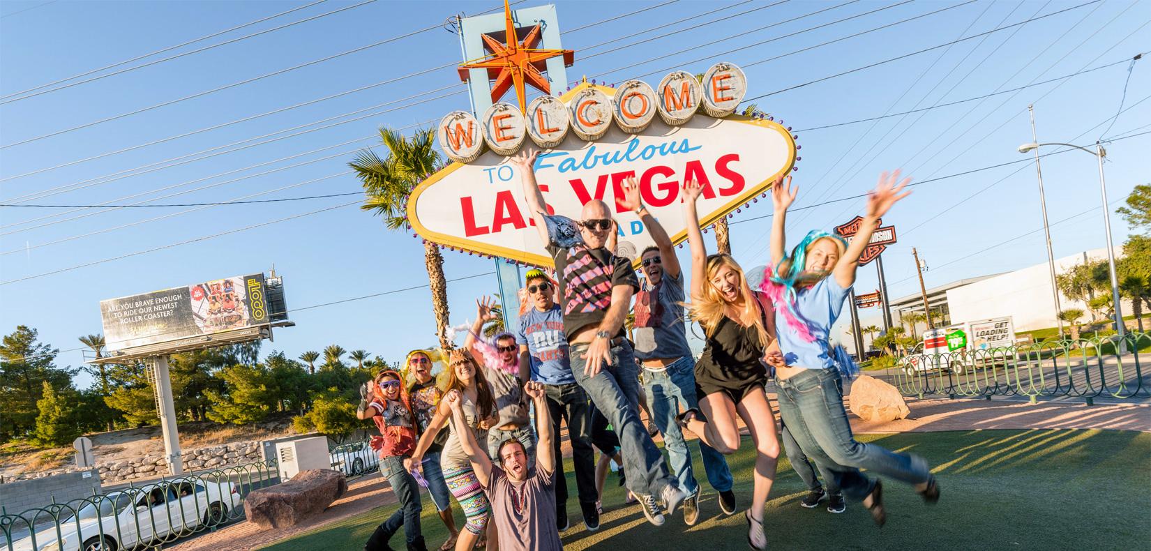 Las Vegas Welcome Sign, Menschen, Party, Freude