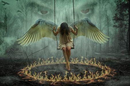Engel, Schaukel, Feuerkreis, Augen