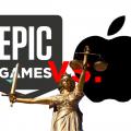 Apple Logo, Epic Games Logo, Justizia