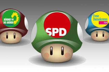 drei Pilze, Partei-Logos