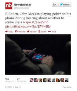 Senator playing poker syria