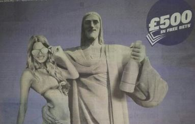 """Banned Sporting Index """"Christ the Redeemer"""" Ad"""